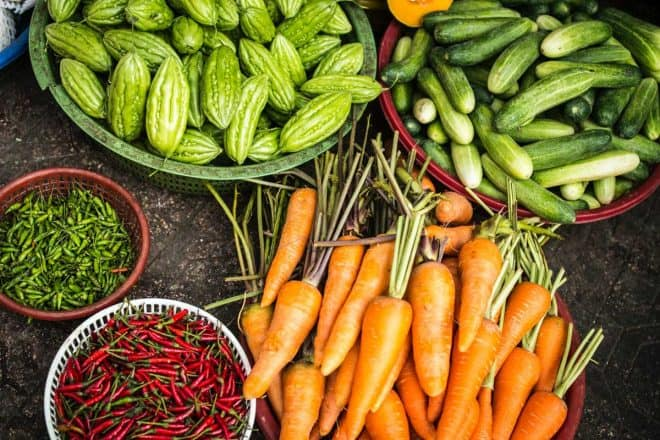 pesticides in produce - carrots, beans and cucumbers